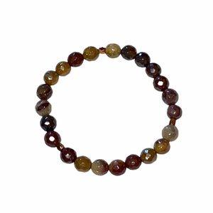"Handmade Mookaite Faceted Gemstone Bracelet 7.25"""